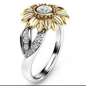 Two tone Sunflower ring